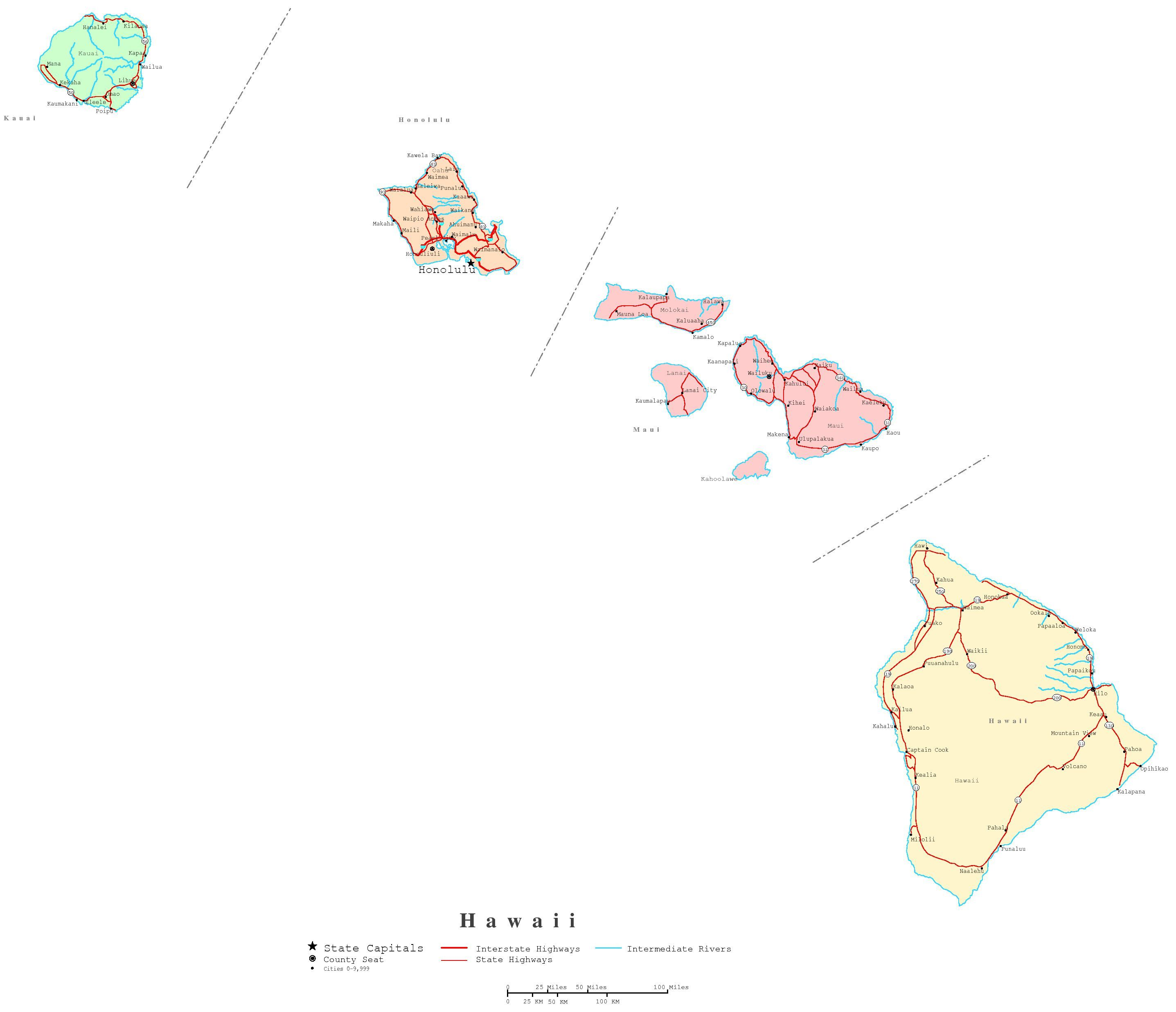 Free Printable Hawaii State Maps