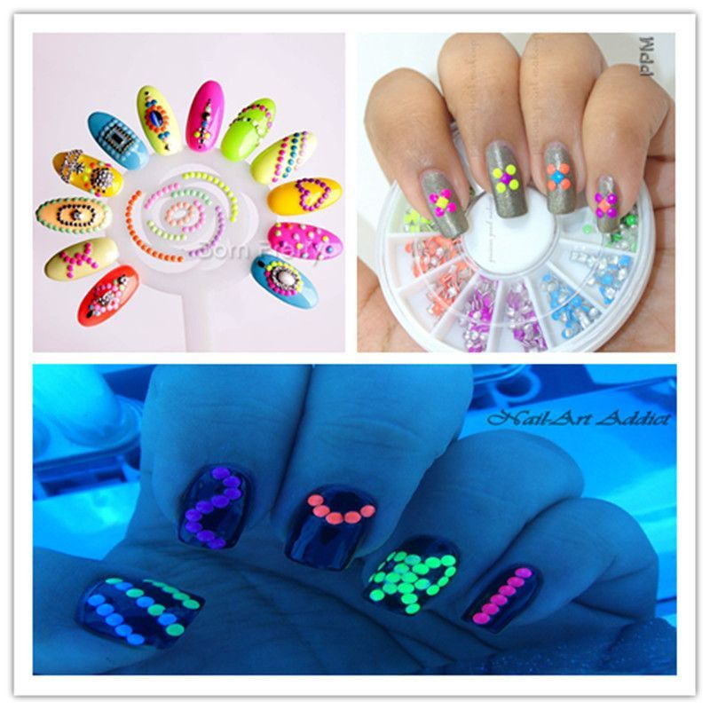 400pcs box neon round nail stud rhinestones acrylic uv gel nail art decoration colorful 3d