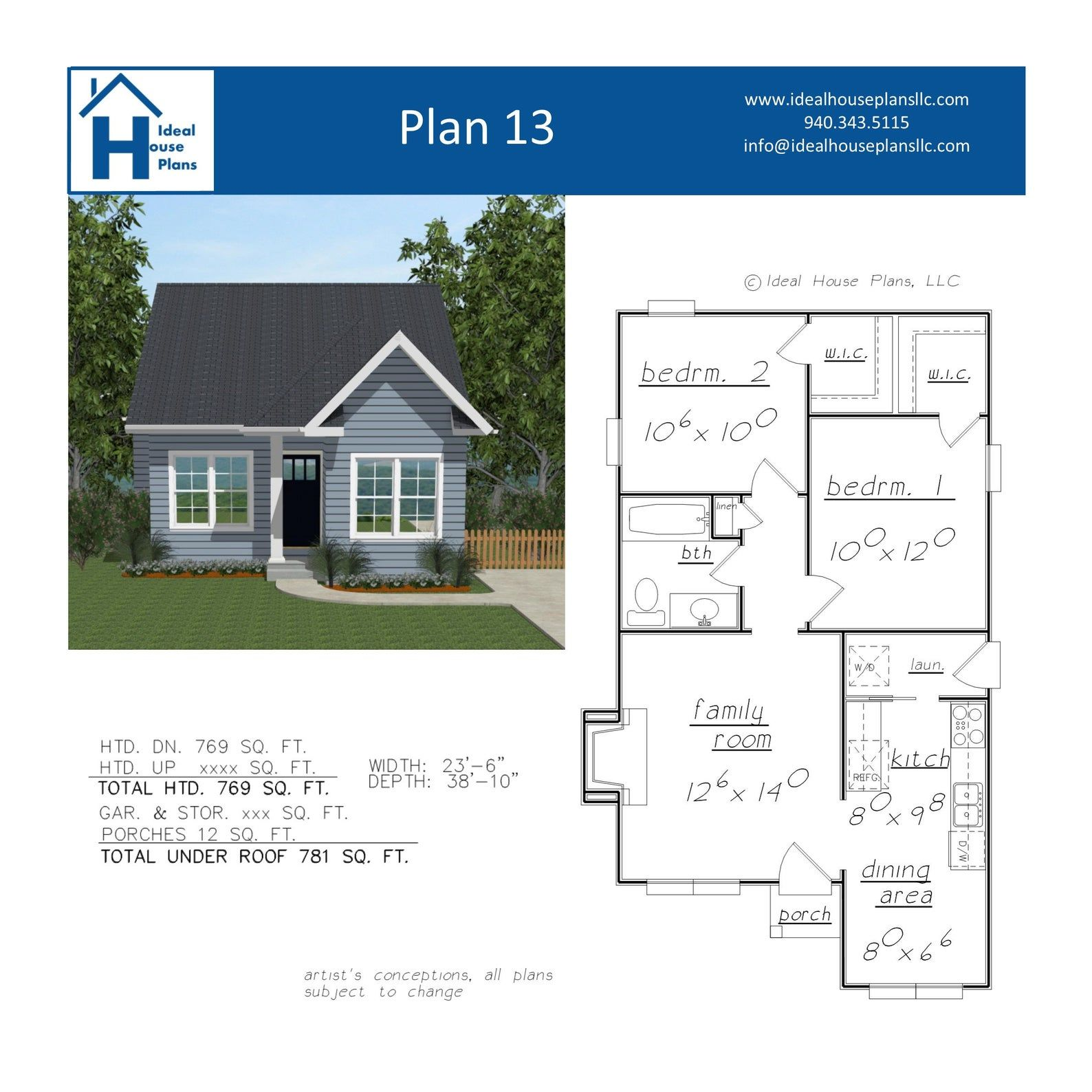 2 Bedroom House Plan Guest or In Law Suite Ready to Build Architectural Drawings PDF Instant Download