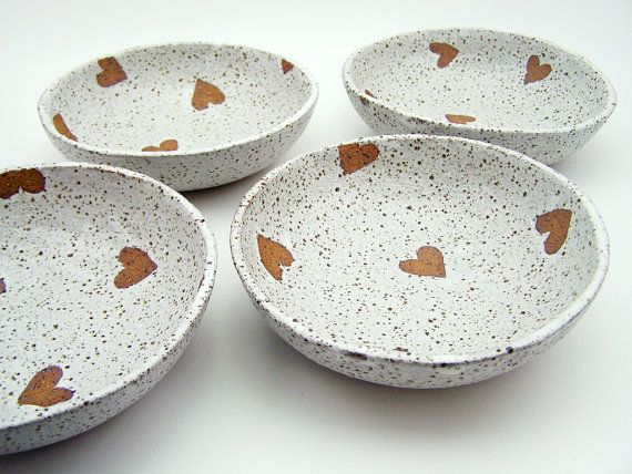 Set of 4 Ceramic Bowls - Stoneware Bowls - Speckled Bowls - Pottery Heart Bowls - MADE TO ORDER - Free Shipping Australia & New Zealand