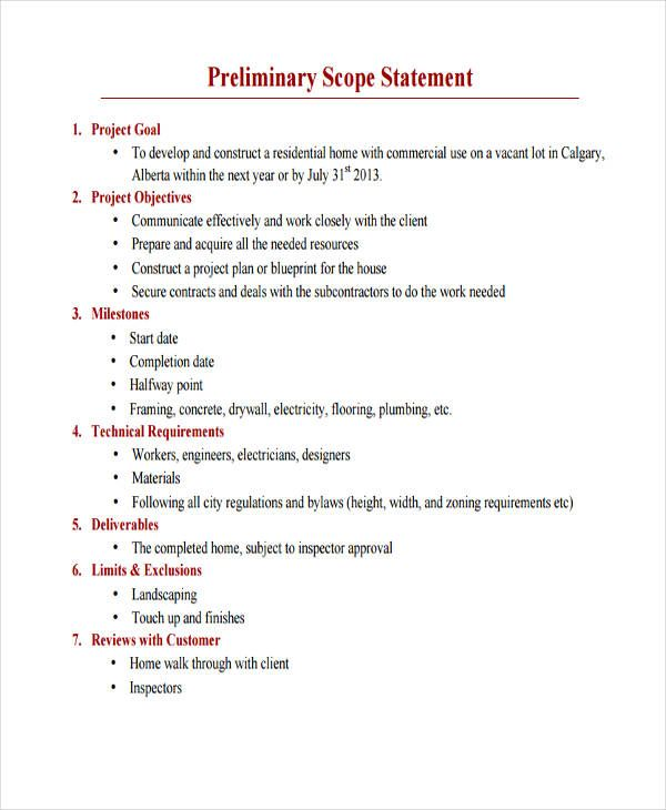 Project Scope Example - 43 Project Scope Statement Templates - project proposal example