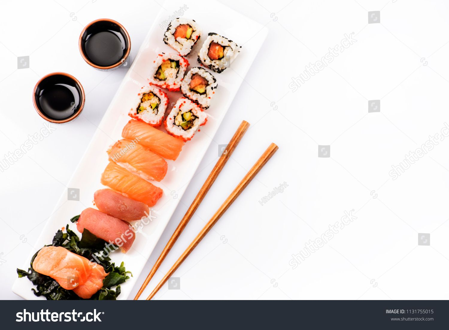 Sushi Rolls Set With Salmon And Tuna Fish Isolated On White