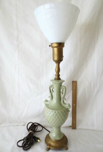 Rembrandt+lamps | Rembrandt C.1950u0027s Table Lamp Seafoam Porcelain Dolphin  Handles Glass .