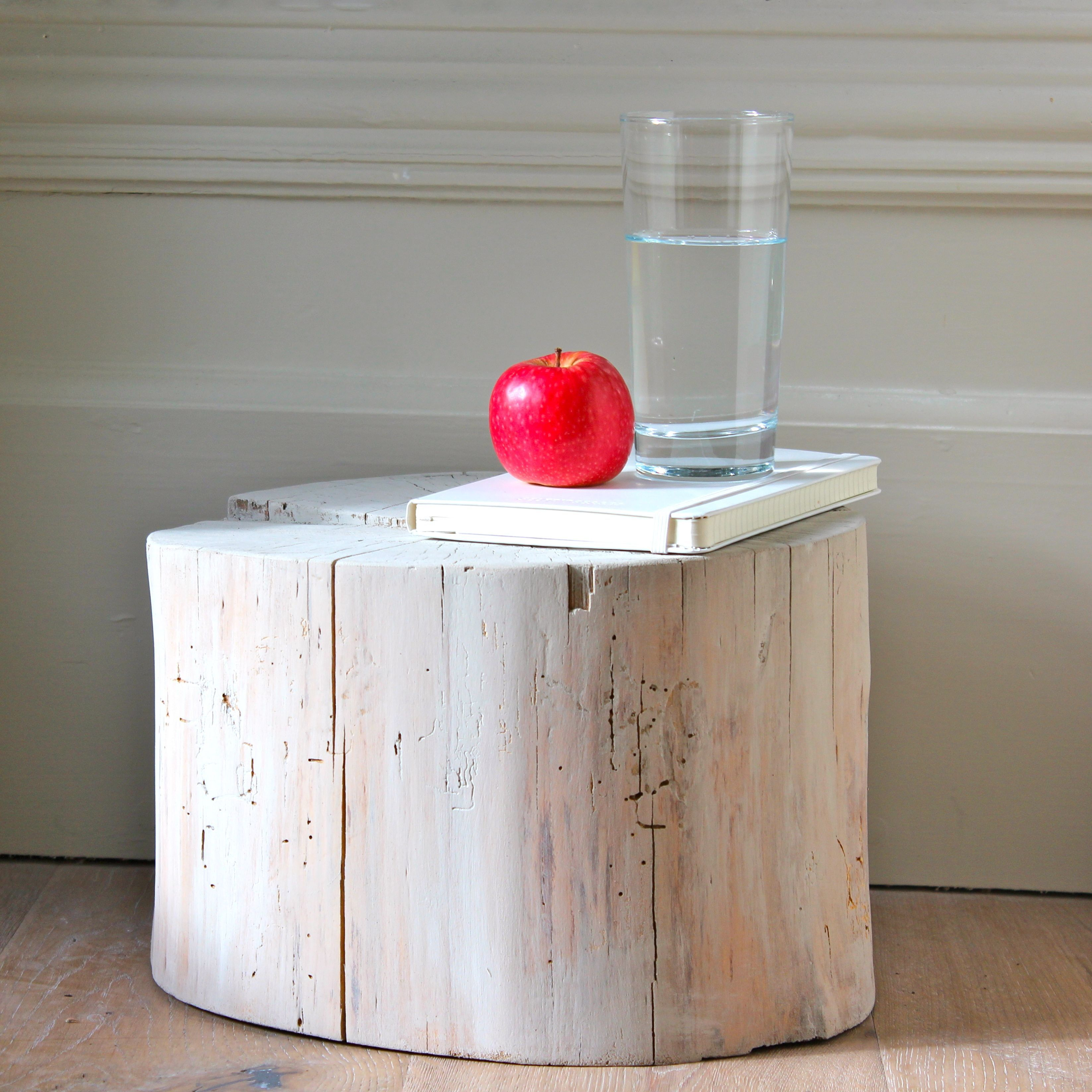 Log Side Table  Sanded And Applied 3 Parts Natural Liquid Wax Or Wood Woil  To