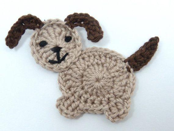 Crochet dog crochet appliques 1 Beige by MyfanwysAppliques on Etsy - #Appliques #Beige #Crochet #dog #Etsy #MyfanwysAppliques #dogcrochetedsweaters