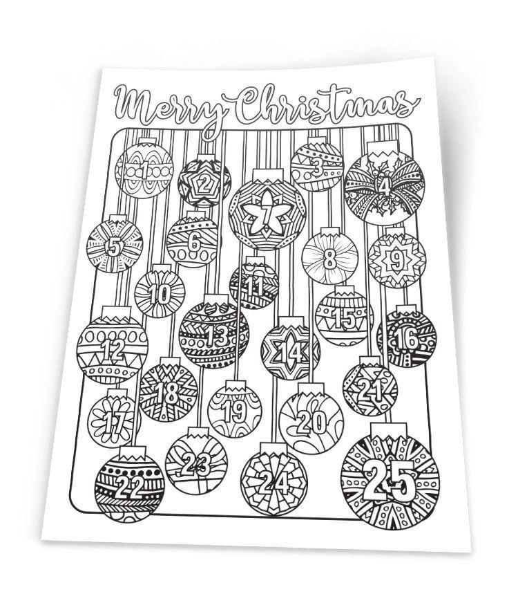 Christmas Coloring Advent Calendar Printable 8 5x11 Pdf Etsy Printable Advent Calendar Christmas Printables Kids Countdown For Kids