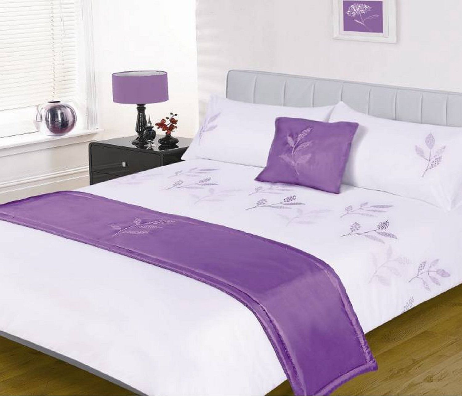 Leaves White Lilac Purple 5 Piece Embellished Bed In A Bag Double Duvet Set With