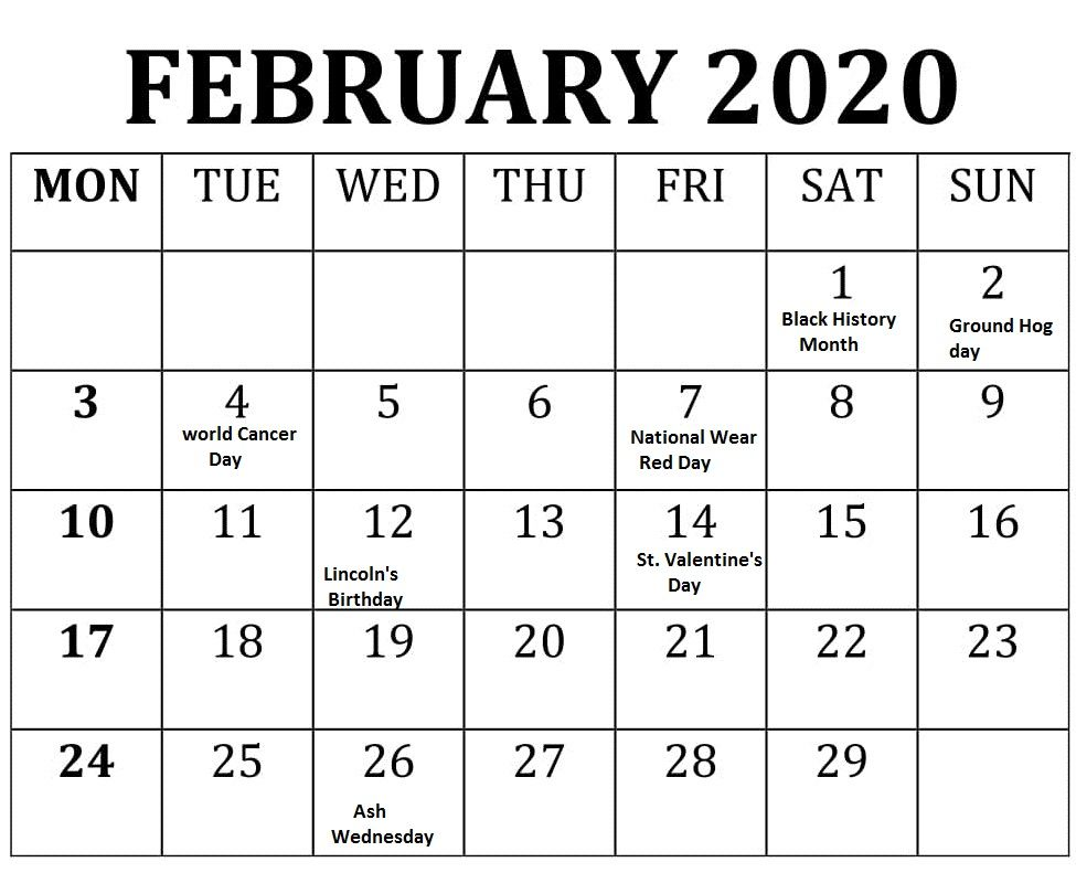 February 2020 Calendar With Holidays For Us Canada India