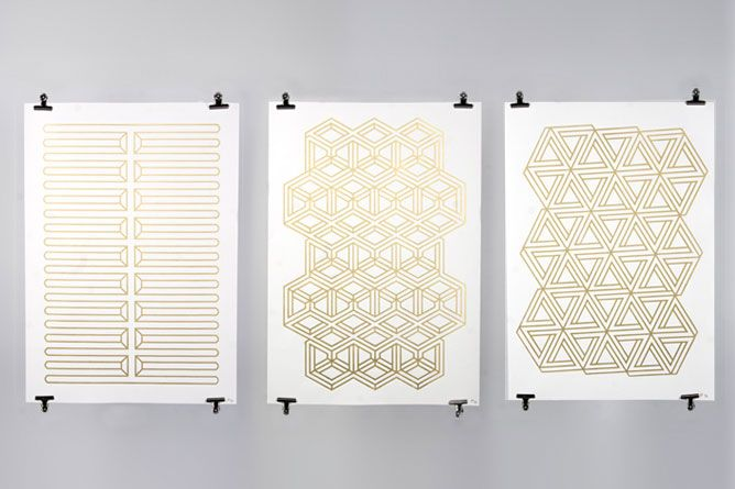 Can't stop staring at these Escher-like patterns by Workshop in shiny gold ink (via design love fest http://www.designlovefest.com/2010/11/m-e-t-l-l-i-c-g-o-l-d.html)