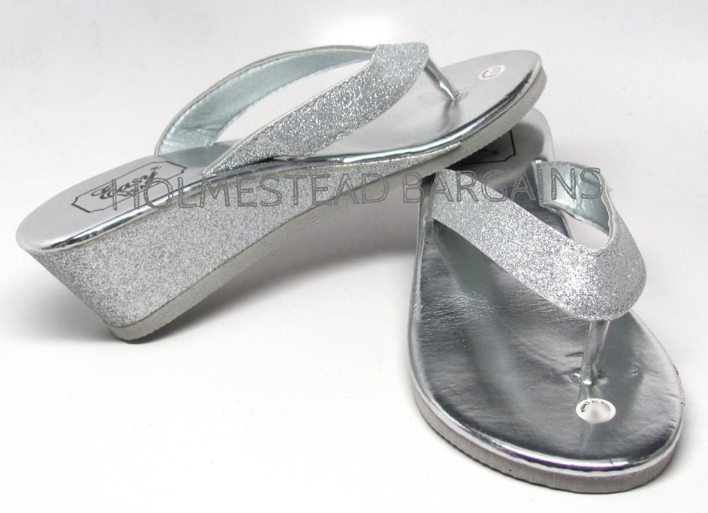 nwt eva wedge glitter flip flops thongs sandals black. Black Bedroom Furniture Sets. Home Design Ideas
