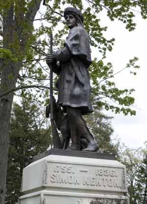 Ran the Shawnee gauntlet 9 times, revered by his enemies for valor and integrity, and shy of public attention (unlike his cohort Daniel Boone): Simon Kenton