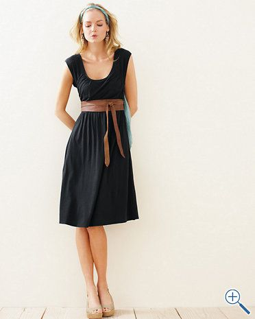 b1ddbd8541d1 Knit Dress, Scoop Neck, Gathering, Belt makes it look like empire waist,  Garnet hill