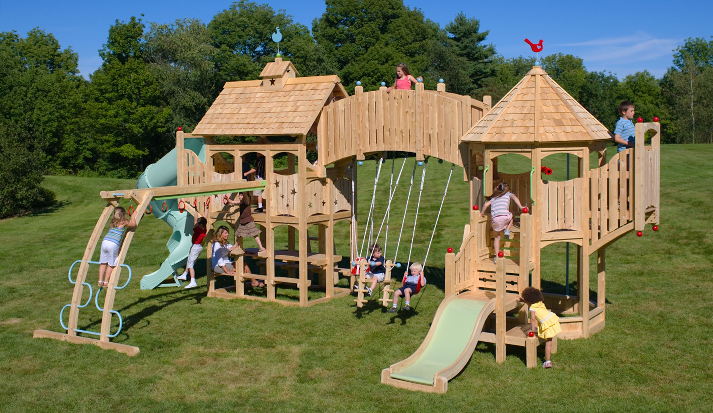 Serendipity 3 Swing Set And Outdoor Play Set Cedarworks Playset Outdoor Kids Playset Outdoor Backyard Swing Sets