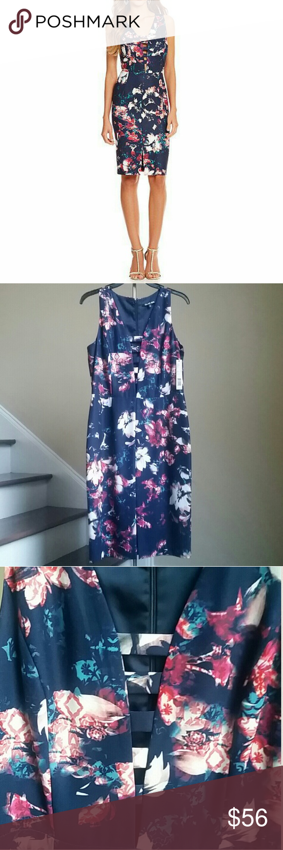 """🆕30% OFF BUNDLES 🎉 GIANNI BINI DRESS Stunning floral print dress from Gianni Bini. Features front cutout design, front slit, sleeveless, lined, concealed back zipper. Shell 95% Polyester, 5% Spandex. Lining 97% Polyester, 3% Spandex. Approx.measurements: bust 36"""", waist 30"""", hips 40"""". Length shoulder to hem 40"""". Gianni Bini Dresses"""