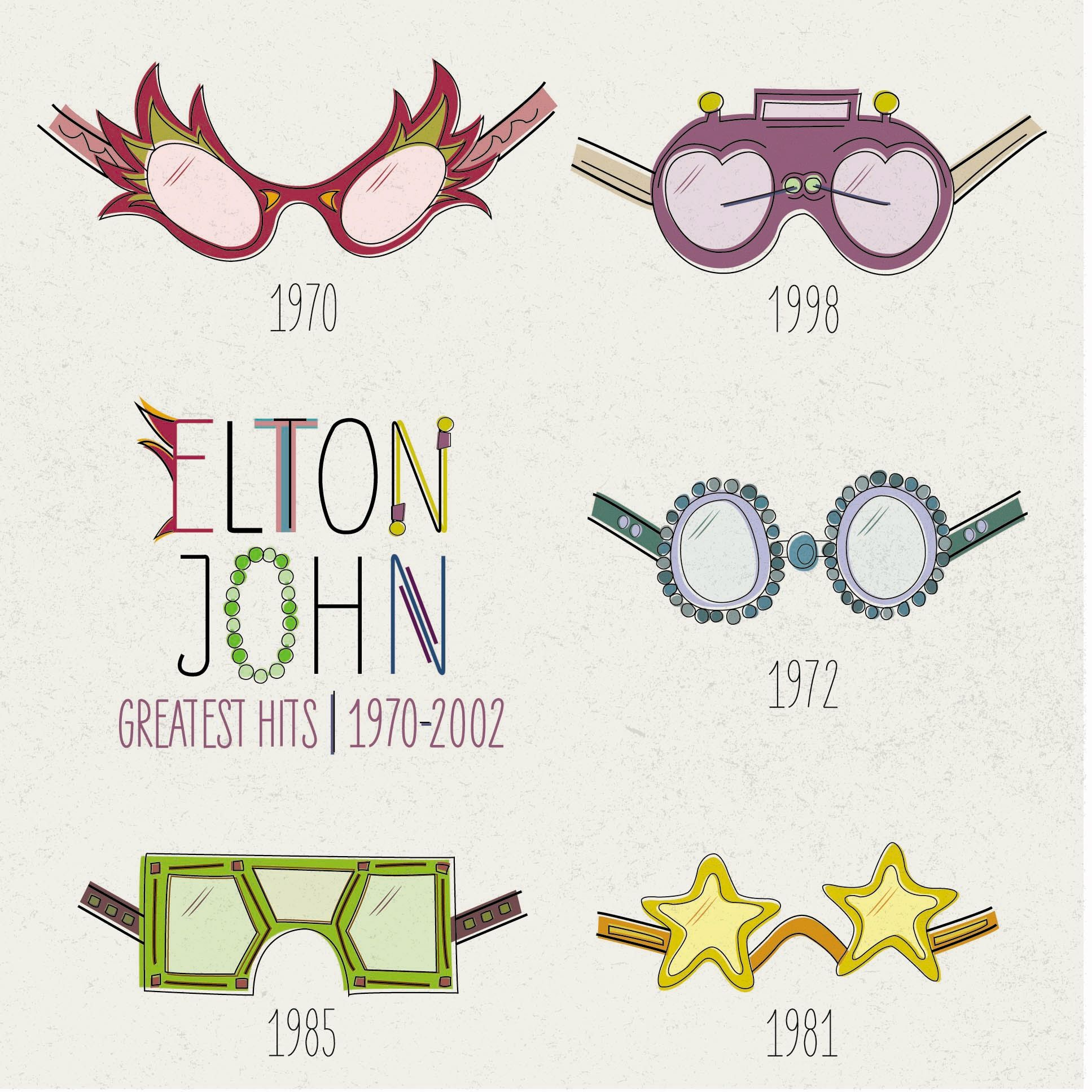 Vinyl album redesign for Elton John's 'Greatest Hits: 1970-2002'. The goal was to capture the essence of his unique style and fashion sense by showcasing his most famous accessory: glasses.