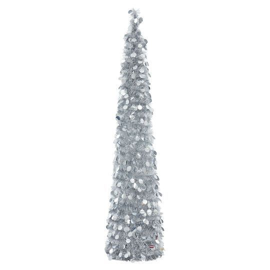 Silver Tinsel Pop Up Christmas Tree: Silver Pop-Up Tinsel Tree By Ashland