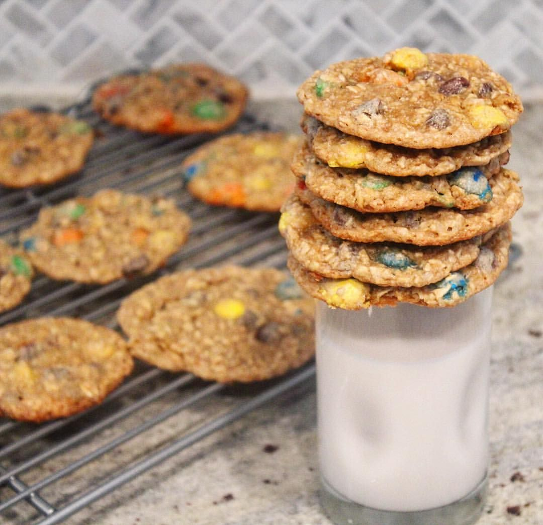 Thanks to these monster cookies there's a new Cookie Monster in town. M&M chocolate peanut butter and oatmeal cookies