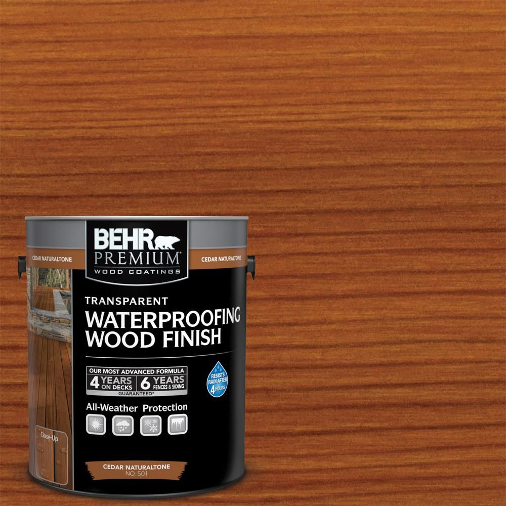 Behr Premium 1 Gal Cedar Naturaltone Transparent Waterproofing Exterior Wood Finish 50101 The Home Depot Exterior Wood Stain Staining Wood Wood Finish