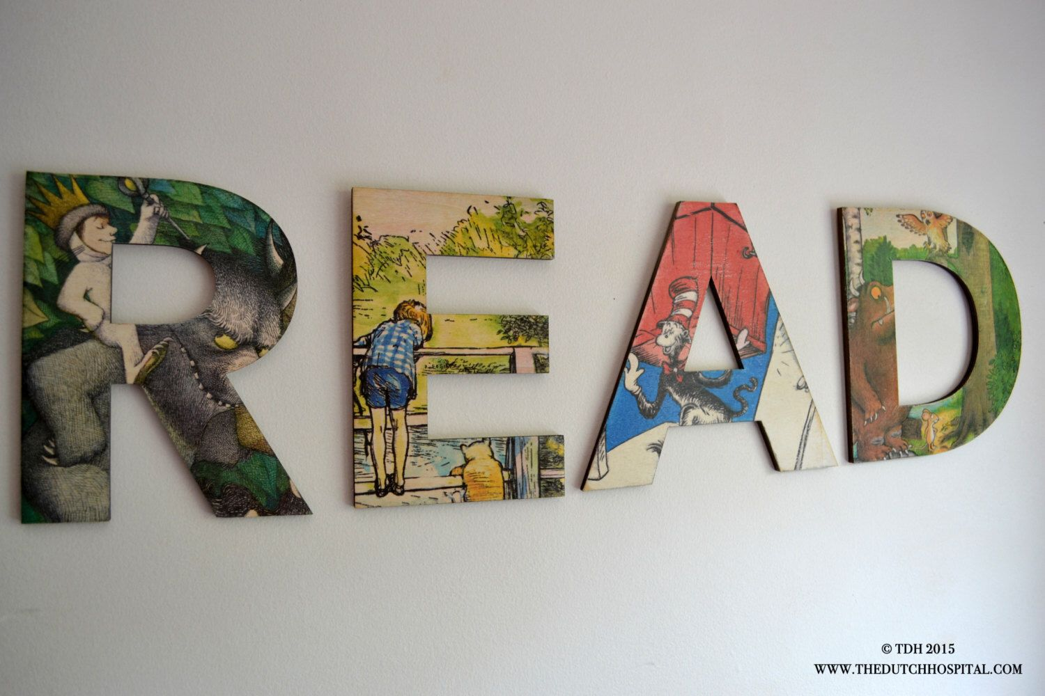 READ wall letters, Gruffalo, Personalised Wooden Name Letters – Wild Things Are – Winnie The Pooh  – Boy's room Wall Decor – Dr. Seuss by TheDutchHospital on Etsy https://www.etsy.com/listing/240055239/read-wall-letters-gruffalo-personalised