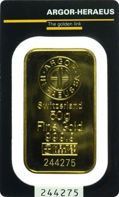 Argor Heraeus Goldbarren 50 G 9999 1000 Plata Oro
