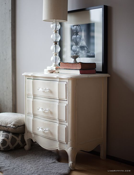 Bed Side Table finished with Chalk Paint® decorative paint by Annie Sloan | Lia Griffith