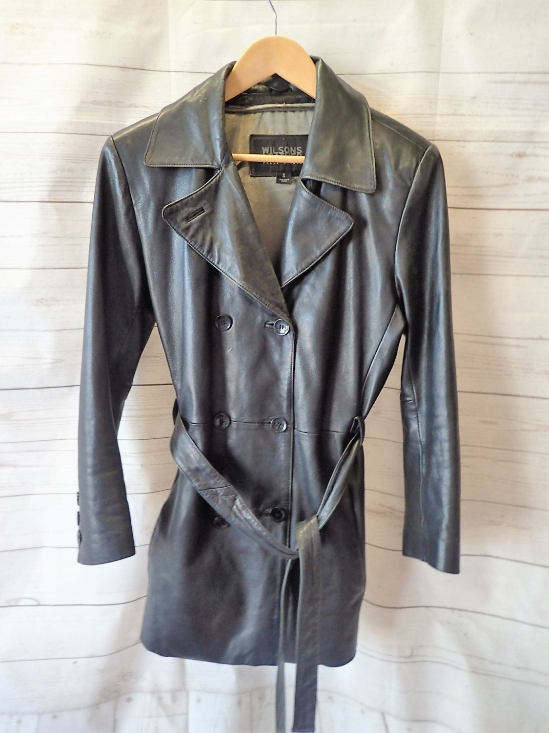 Womens Black Leather Vintage Jacket Coat Wilsons Leather