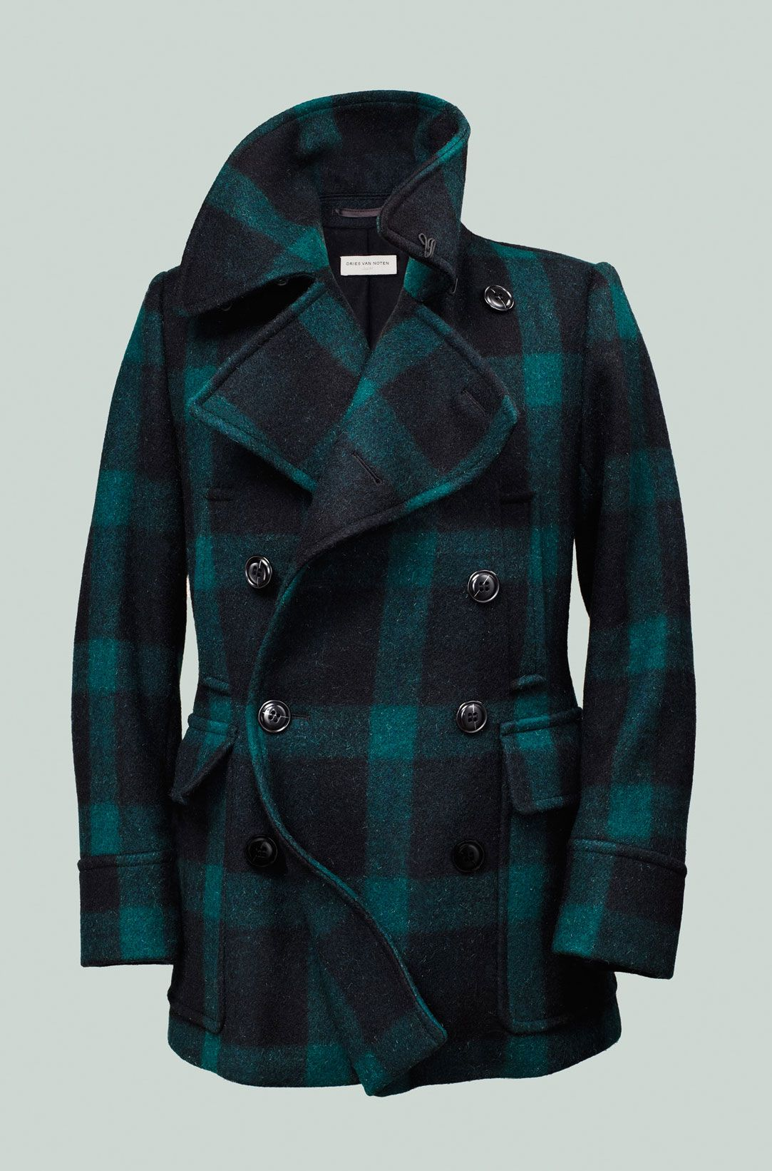 Dries Van Noten green-and-black buffalo plaid peacoat #mens ...