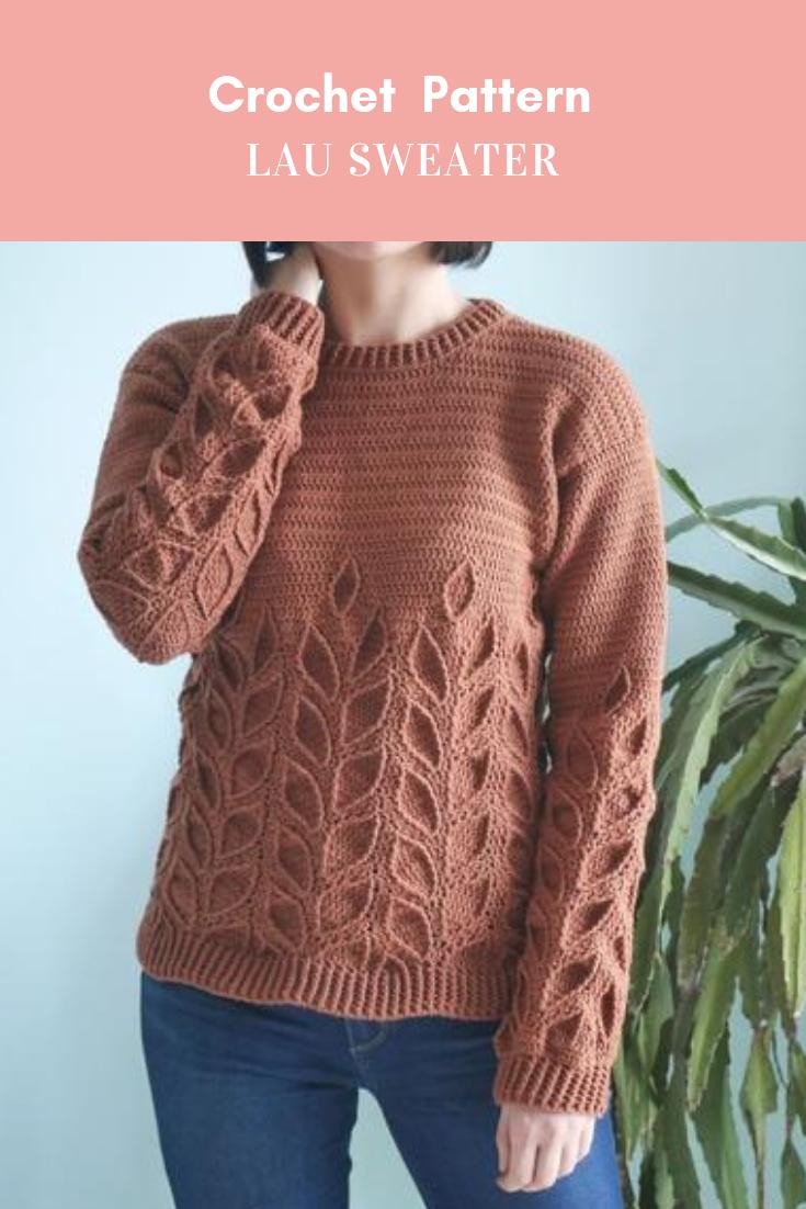Photo of Crochet Sweater Pattern PDF – Lau Sweater – crochet crew neck leaves sweater pattern in English
