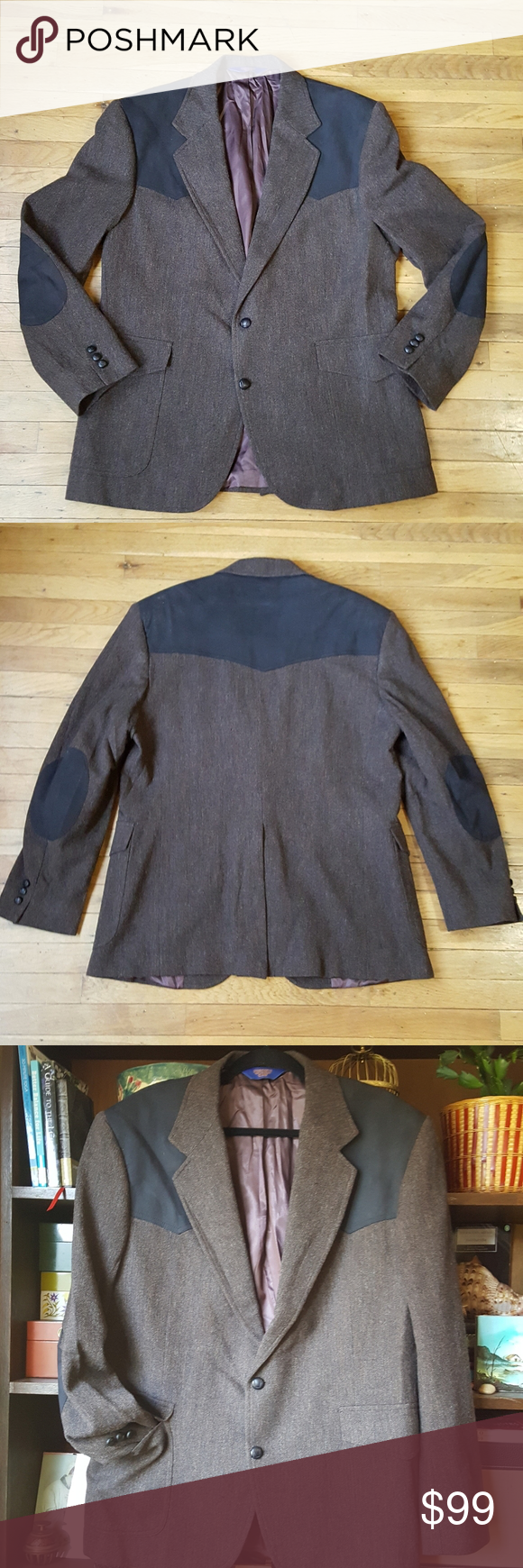 Pendleton wool western blazer elbow patch jacket Elbow