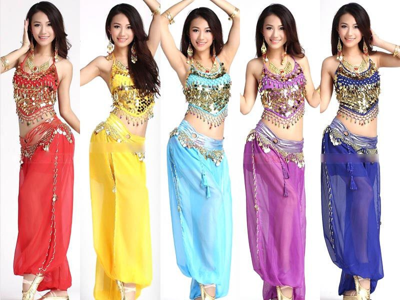 4a1116fa5 BELLY DANCE COSTUME SET 2PC GOLD HALTER TOP HAREM GENIE PANTS BOLLYWOOD  DANC LJ   Clothing, Shoes & Accessories, Dancewear, Adult Dancewear   eBay!
