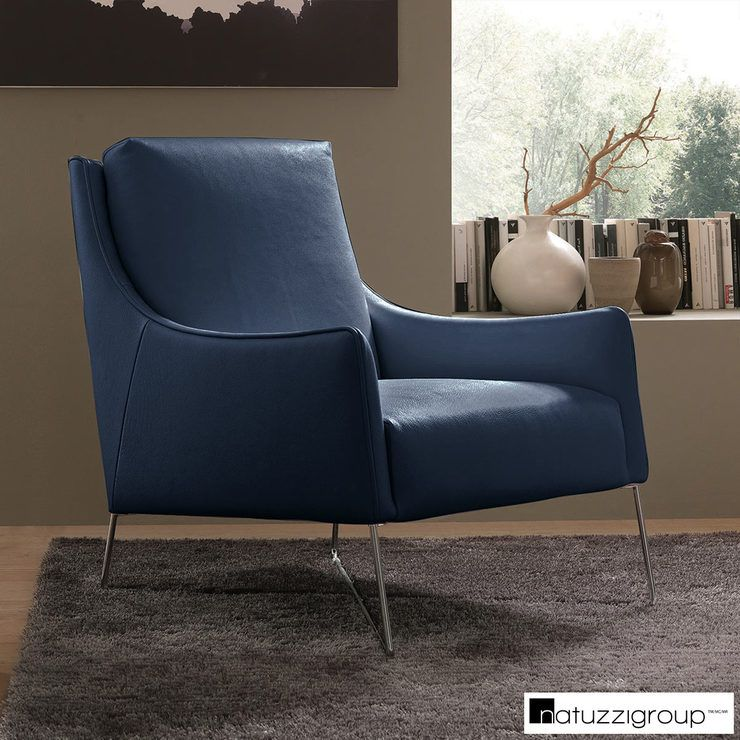 Natuzzi Navy Top Grain Leather Accent Chair In 2020 Accent