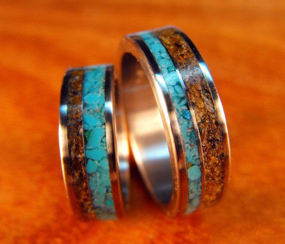 Wedding Ring Set Anium With Tigerseye And Turquoise His Hers Engraved
