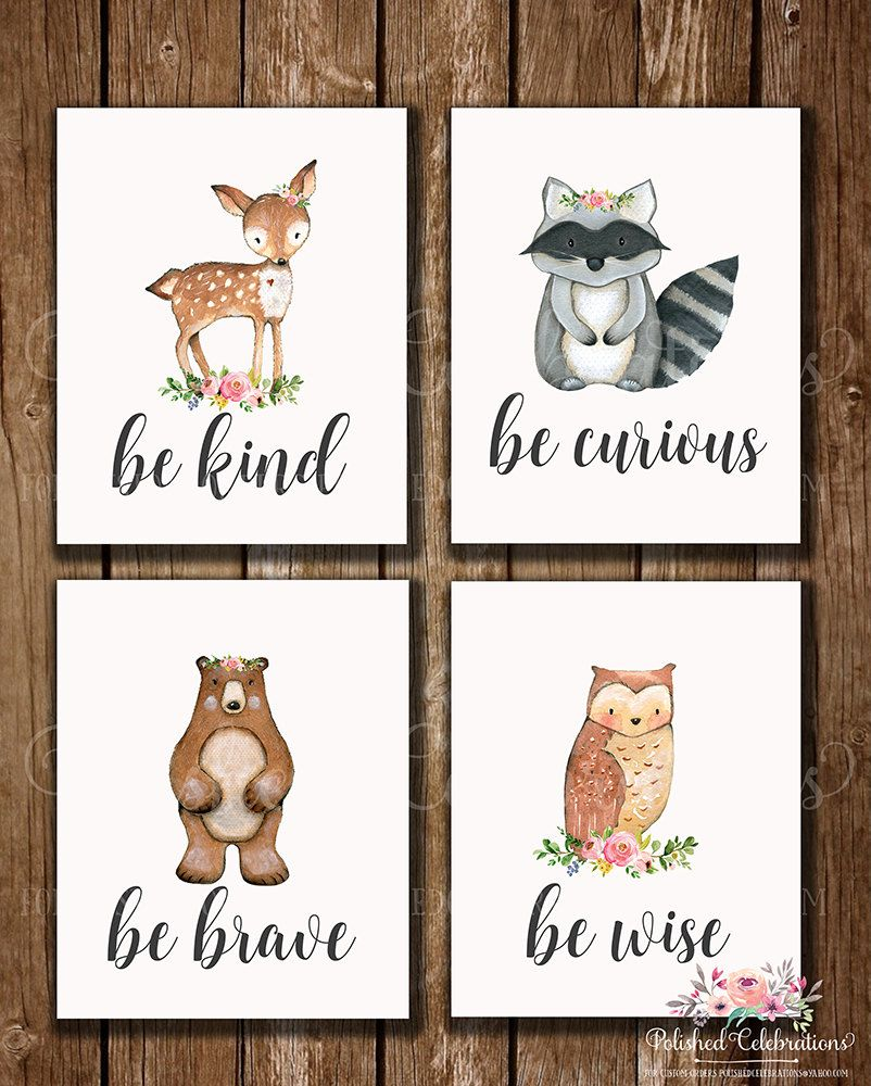 Woodland Animal Set 8x10 Nursery Art Baby Fl Printable Watercolor Instant Shower Decor Bedroom Wall