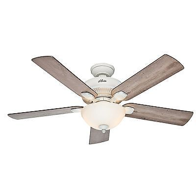 Hunter 52 Cottage White Outdoor Ceiling Fan With Grey Pine Blades Light Kit