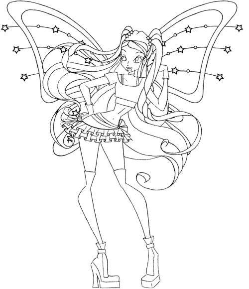 Winx Club Stella Coloring Pages | Malebogen - Mennesker m.m | Pinterest
