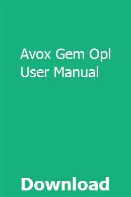 Avox Gem Opl User Manual   liafeckdeersper