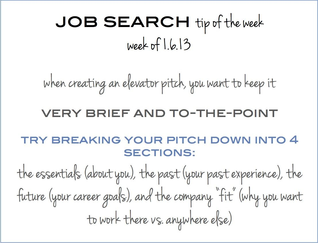 Job Search Tip Of The Week How To Create The Perfect Elevator