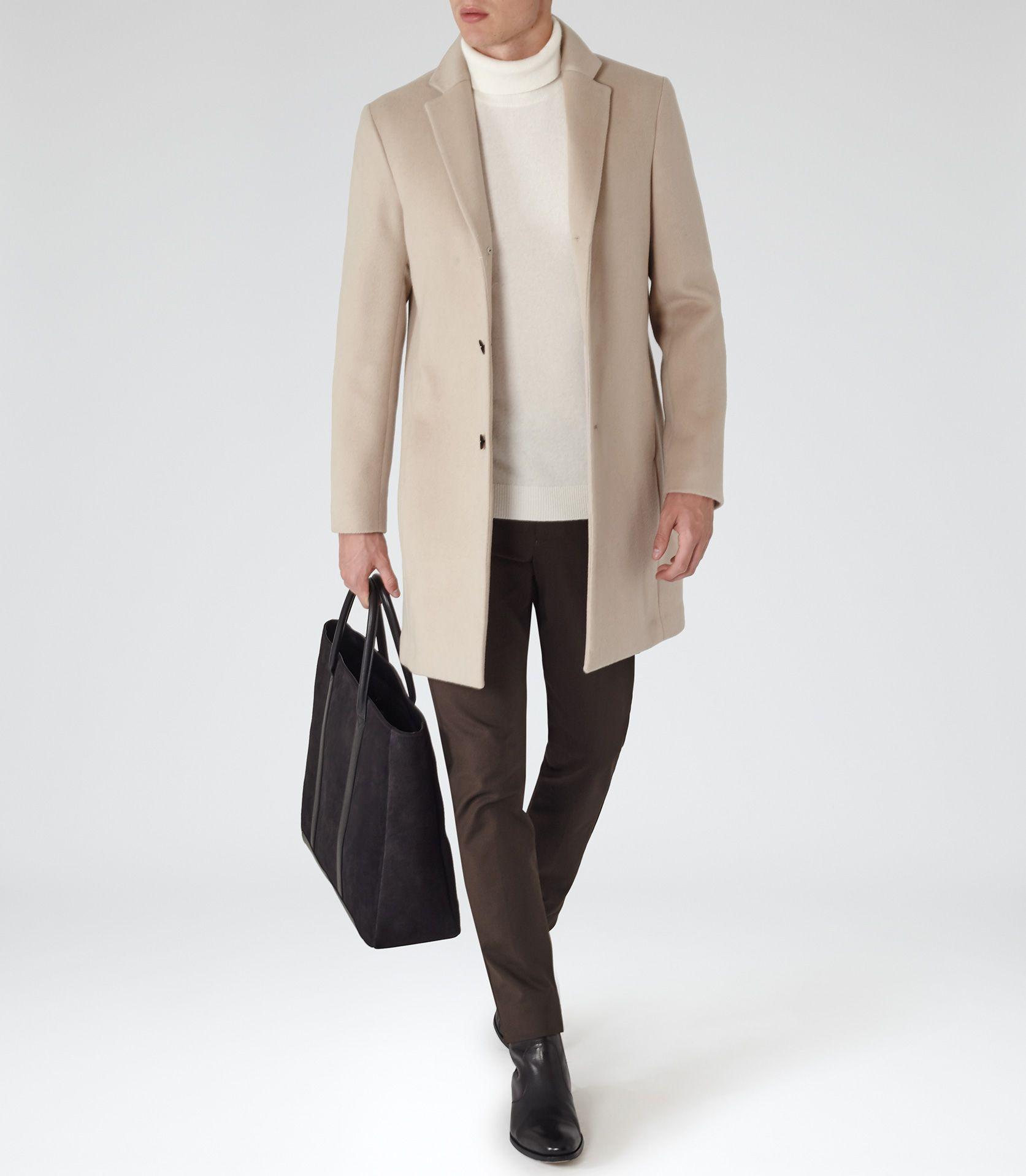 Mens jacket camel - Mens Camel Wool Blend Epsom Coat Reiss Gabriel