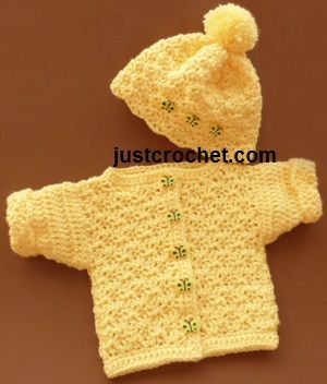 Free Crochet Pattern Preemie Clothes : Free baby crochet pattern for bobble hat and cardigan from ...