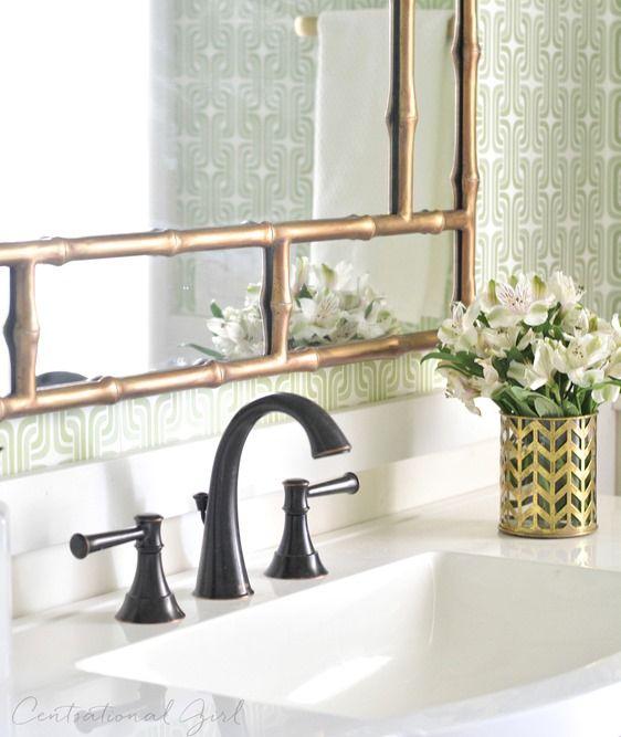 Green + Gold Bathroom Makeover | Oil rubbed bronze, Builder grade ...