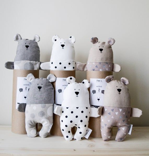 Grey Teddy Bear Toy for baby, Minimal design kids toy, Natural cotton stuffed Bear, Handmade Teddy bear, Unisex kids toy, Nordic style Bear