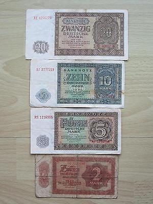 Konvolut Banknoten Geldscheine 2, 5, 10, 20 Mark DDR