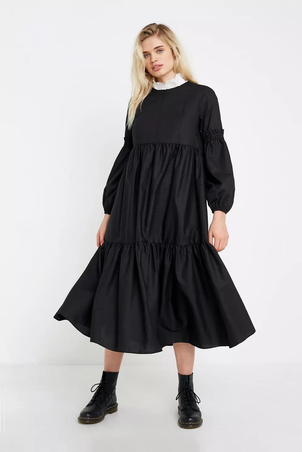 Uo Poplin Smock Midi Dress Vintage Dresses Casual Fashion Dresss Midi Dress [ 1463 x 976 Pixel ]
