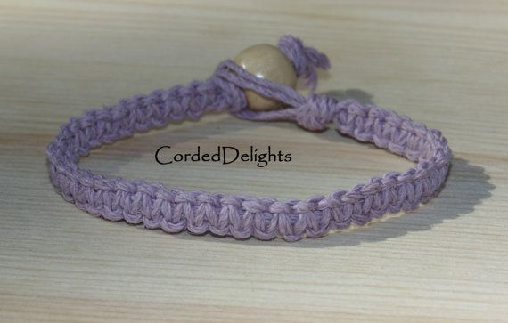 Lavender Hemp Bracelet by CordedDelights on Etsy, $4.00