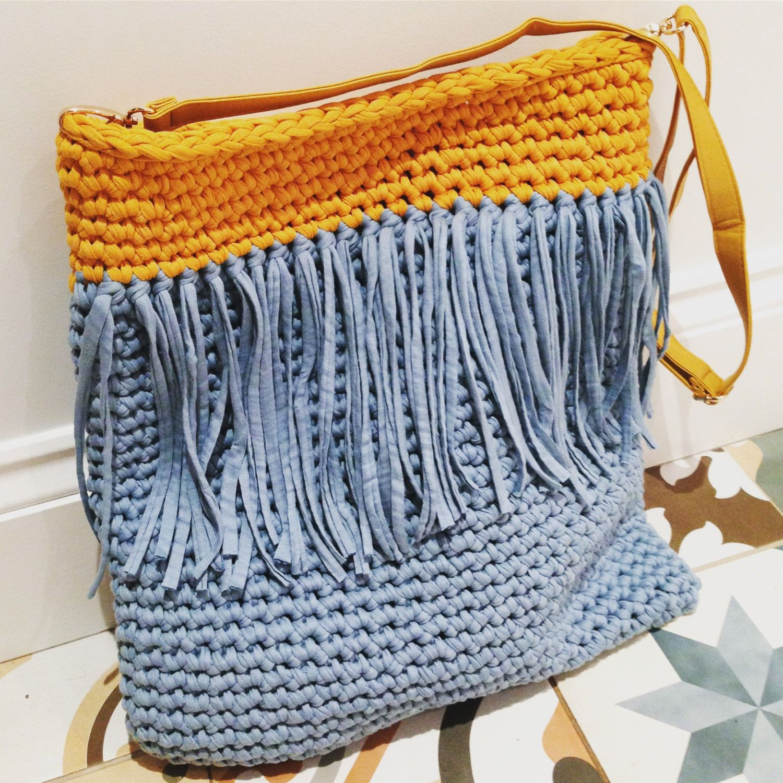 Tassel Tote T-shirt Yarn Crochet Bag Pattern by MakeEShop on Etsy ...