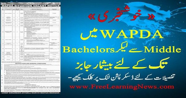 WAPDA Jobs 2017 for North WAPDA Warsak NTS Job Application Form - job application forms