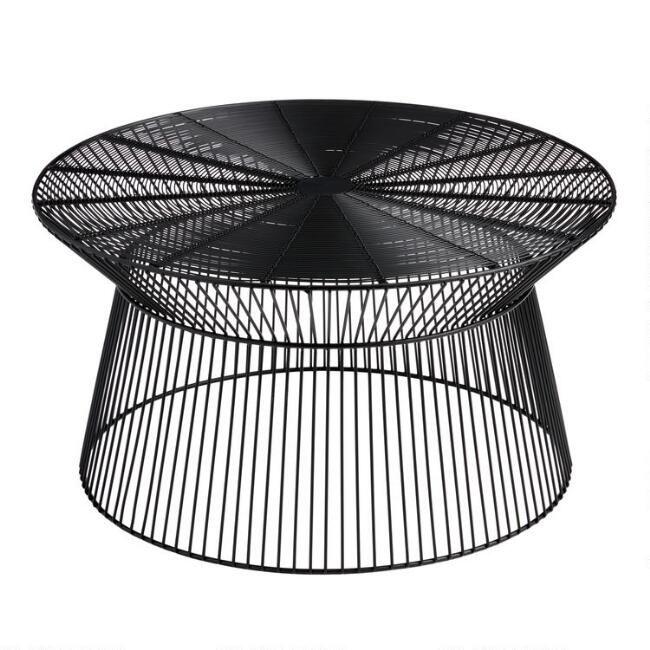 Round Black Metal Zeke Outdoor Coffee, Metal Patio Coffee Table