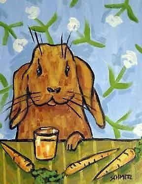 bunny rabbit art PRINT poster carrot juice modern folk art 13x19 JSCHMETZ
