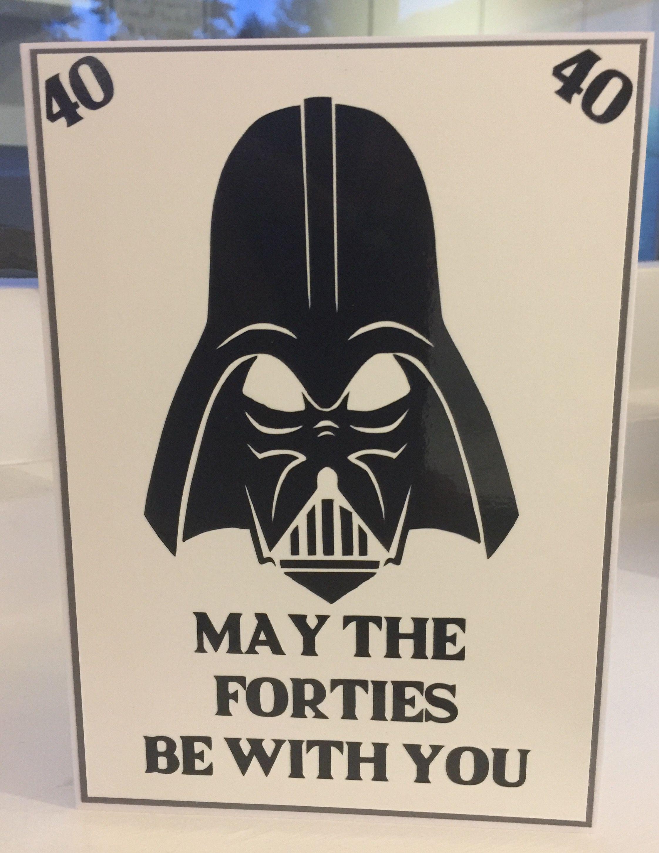 Star Wars Themed 40th Birthday Card 40th Birthday Cards Funny Birthday Cards Birthday Cards For Men