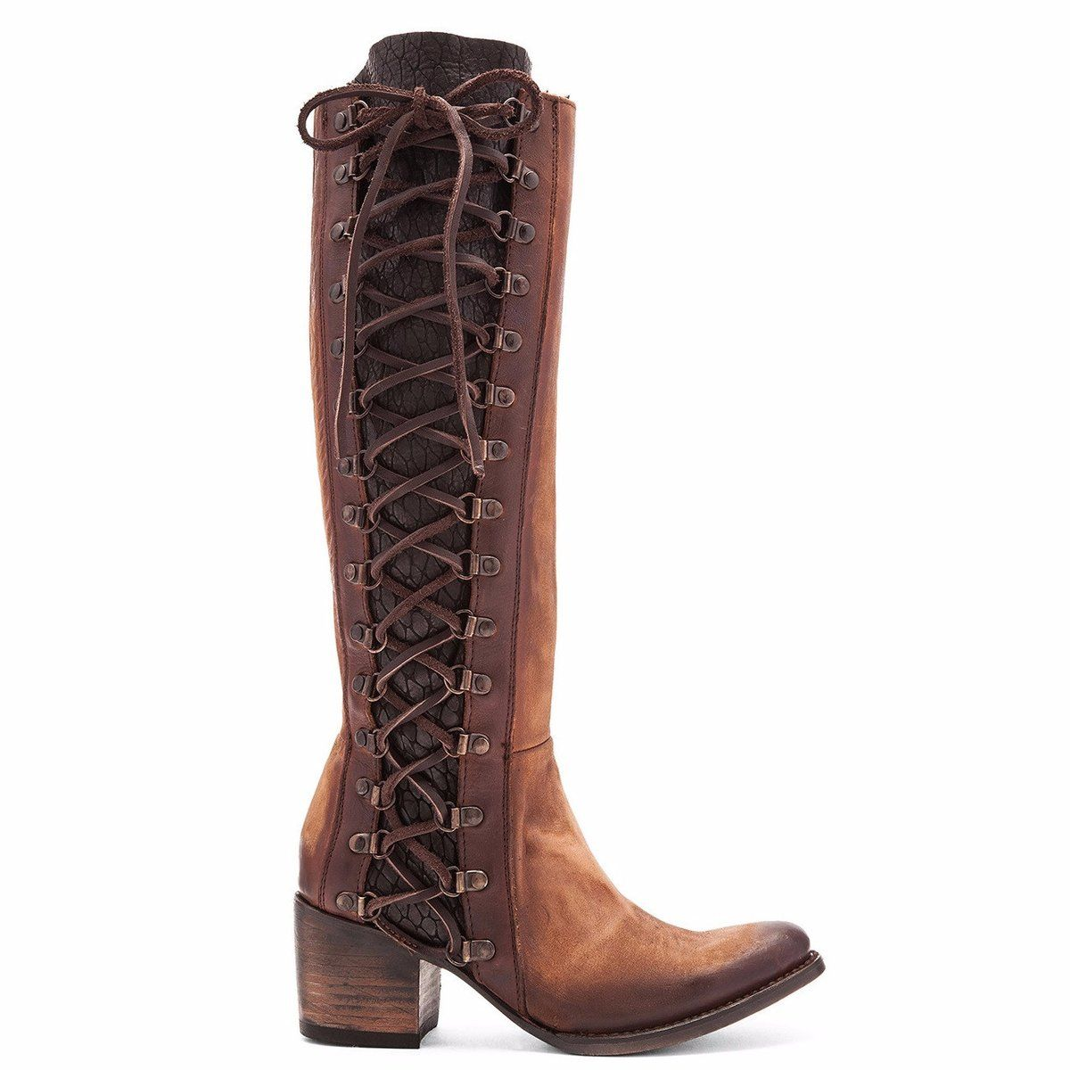 b7d532e47 Freebird by Steve Madden. Style Number: FB-Wyatt-Cognac. Lace-up side with  tie closure. Side zip closure. Round toe. Single stitch welt. Leather  lining.